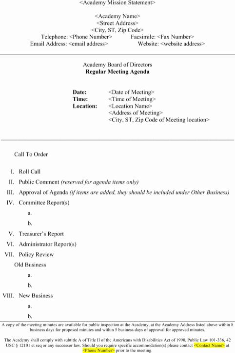 Board Meeting Agenda Template Word Inspirational Download Meeting Agenda Template for Free formtemplate