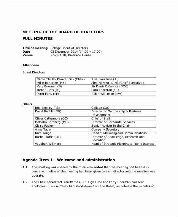 Board Meeting Minutes Template Awesome Board Of Directors Meeting Agenda Template – 8 Free Word
