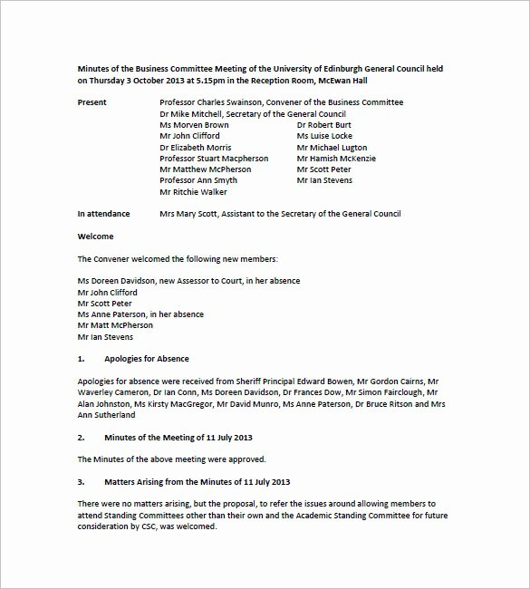 Board Meeting Minutes Template Fresh Free Meeting Minutes Templates – 17 Free Sample Example
