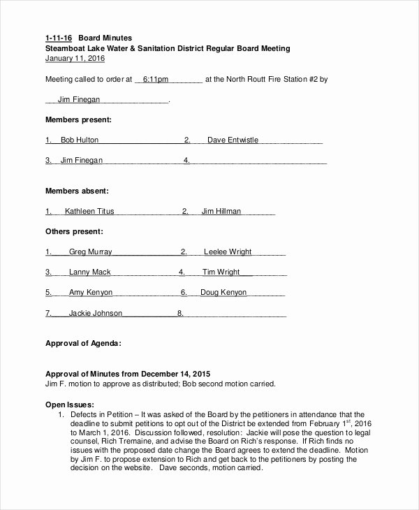 Board Meeting Minutes Template Lovely Annual Meeting Minutes Template 10 Word Pdf Document
