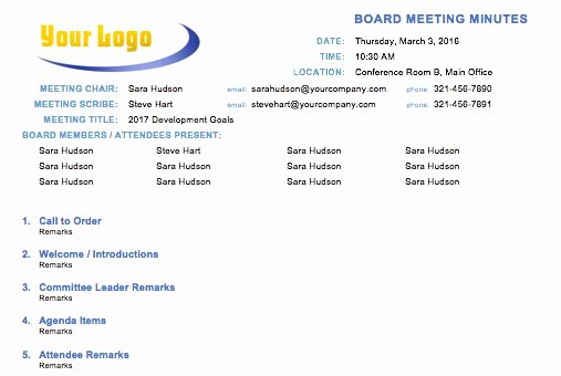 Board Meeting Minutes Template New Free Meeting Minutes Template for Microsoft Word