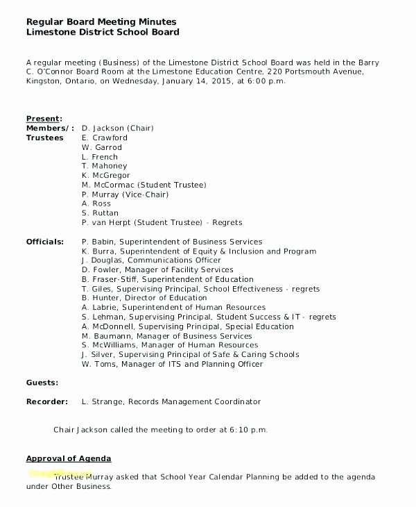 Board Meeting Minutes Template Nonprofit Beautiful Nonprofit Board Meeting Agenda Template Minutes format for