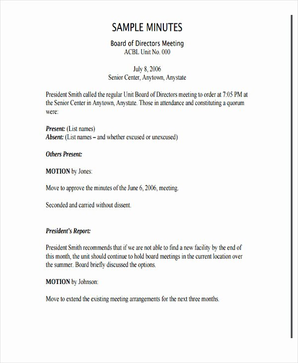Board Meeting Minutes Template Nonprofit Elegant 7 Nonprofit Meeting Minutes Template