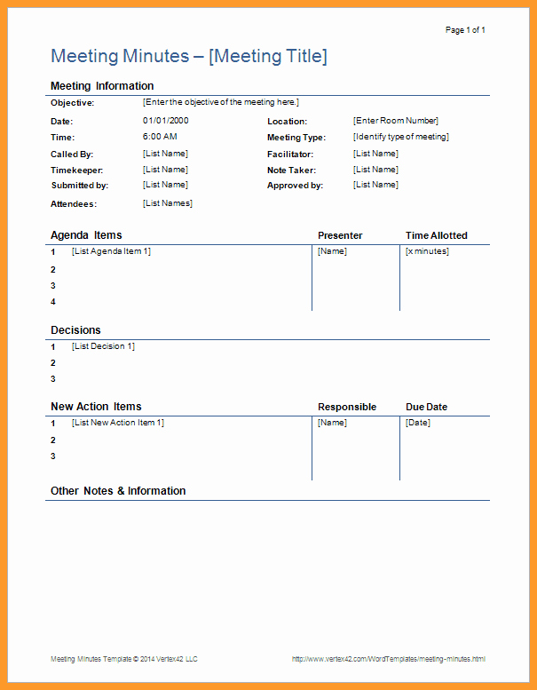 Board Meeting Minutes Template Nonprofit Fresh 6 7 Simple Template for Meeting Minutes