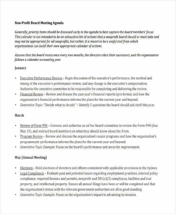 Board Meeting Minutes Template Nonprofit Fresh Nonprofit Agenda Templates 6 Free Word Pdf format