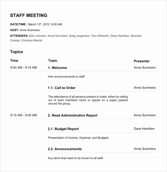 Board Meeting Minutes Template Nonprofit New 12 Board Meeting Agenda Templates – Free Samples Examples