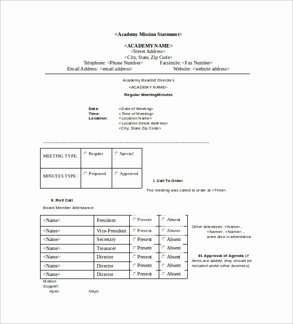 Board Meeting Minutes Template Unique 42 Free Sample Meeting Minutes Templates