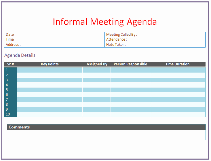 Board Meeting Minutes Template Word Elegant Informal Meeting Agenda Template organize Meetings