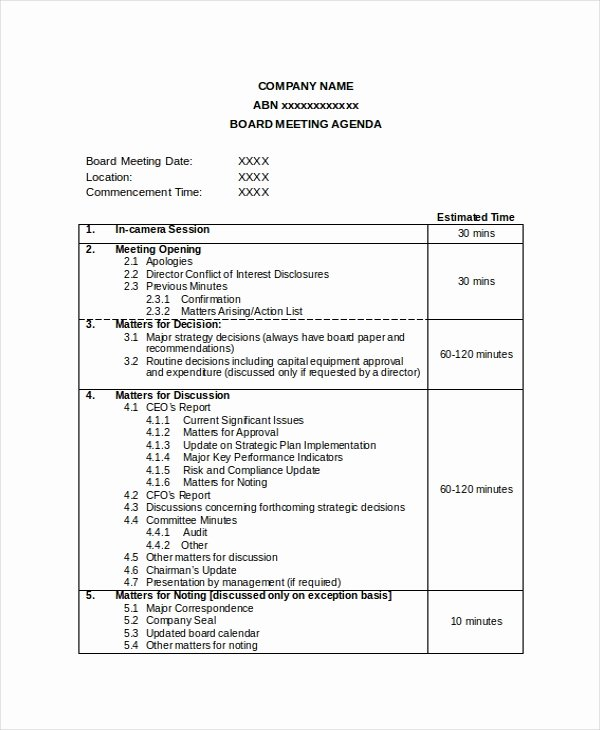 Board Meeting Minutes Template Word Fresh Pany Meeting Agenda Template 7 Free Word Pdf