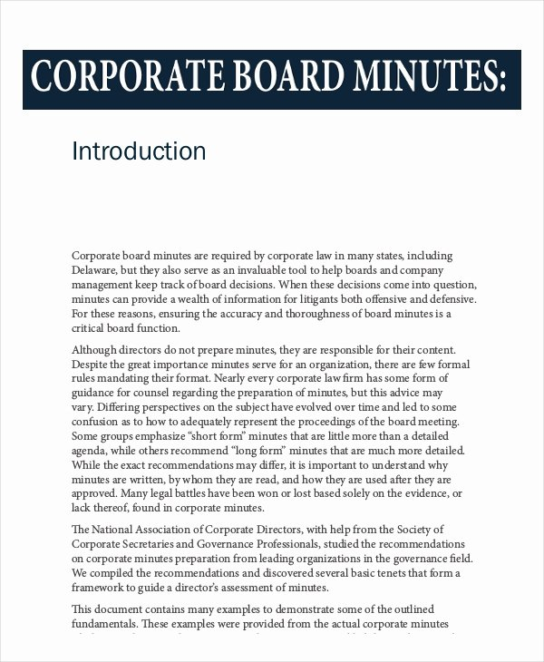 Board Meeting Minutes Template Word Unique 16 Board Minutes Templates Example Word Apple Pages