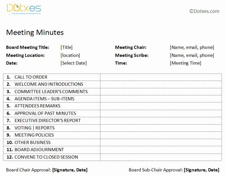 Board Meeting Minutes Template Word Unique Board Meeting Minutes Template Plain format Dotxes