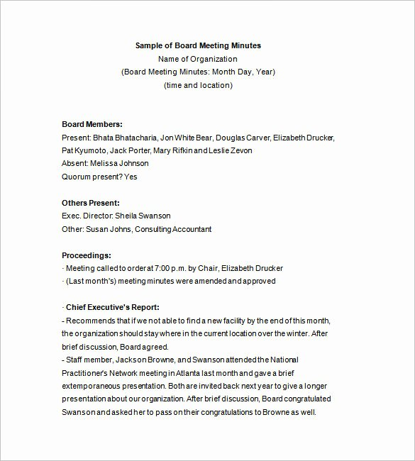 Board Of Directors Meeting Template Awesome 15 Board Meeting Minutes Templates Google Docs Pdf