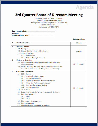 Board Of Directors Meeting Template Awesome Board Of Directors Meeting Agenda Template