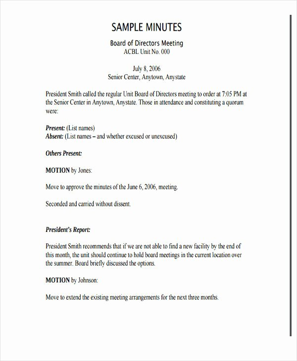 Board Of Directors Meeting Template Beautiful Board Directors Meeting Minutes Template Nonprofit