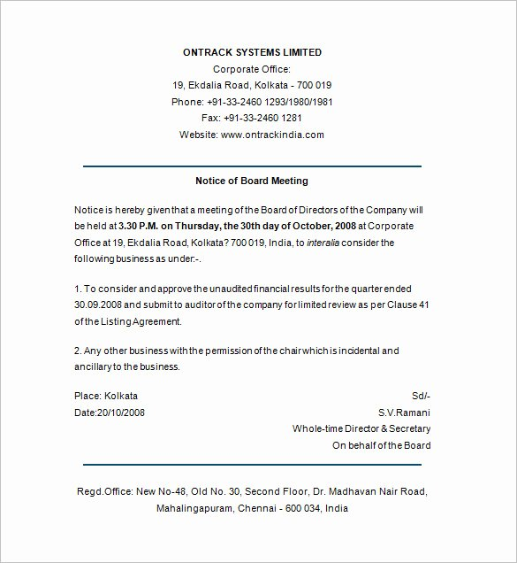 Board Of Directors Meeting Template Best Of 29 Notice Of Meeting Templates Pdf Google Docs Ms