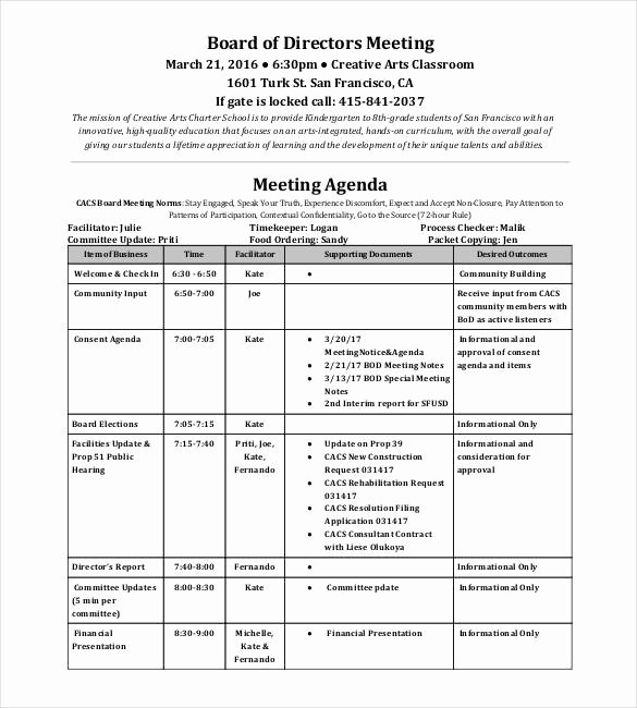 Board Of Directors Meeting Template Best Of 50 Meeting Agenda Templates Pdf Doc