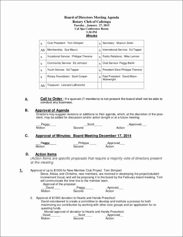Board Of Directors Meeting Template Elegant 10 Board Agenda Samples & Templates
