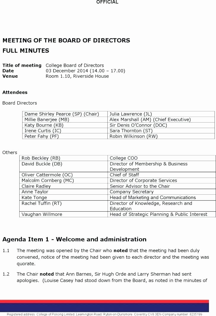 Board Of Directors Meeting Template Elegant Executive Board Meeting Agenda Template Technical