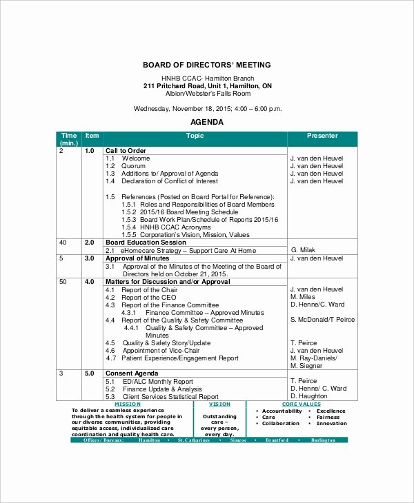 Board Of Directors Meeting Template Fresh 12 Board Of Directors Meeting Agenda Templates – Free