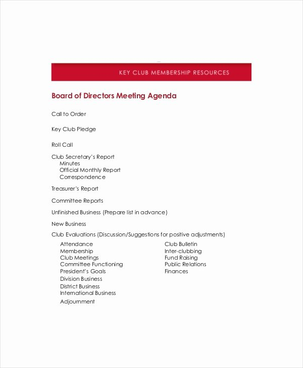 Board Of Directors Meeting Template Inspirational Board Of Directors Meeting Agenda Template – 8 Free Word
