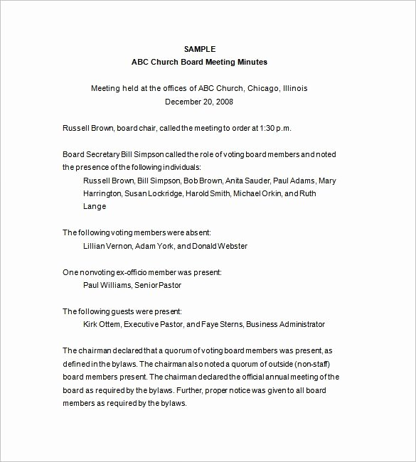 Board Of Directors Meeting Template Inspirational Board Of Directors Meeting Minutes Template 12 Example