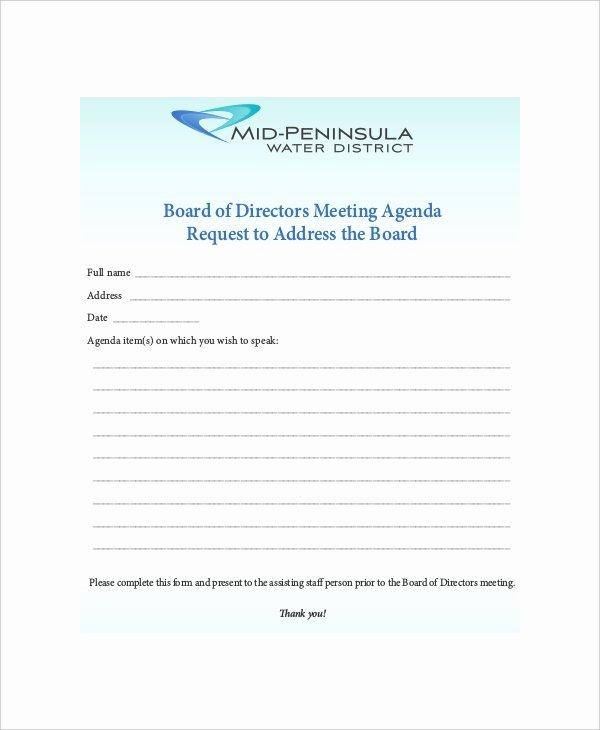 Board Of Directors Meeting Template Luxury 12 Board Of Directors Meeting Agenda Templates – Free