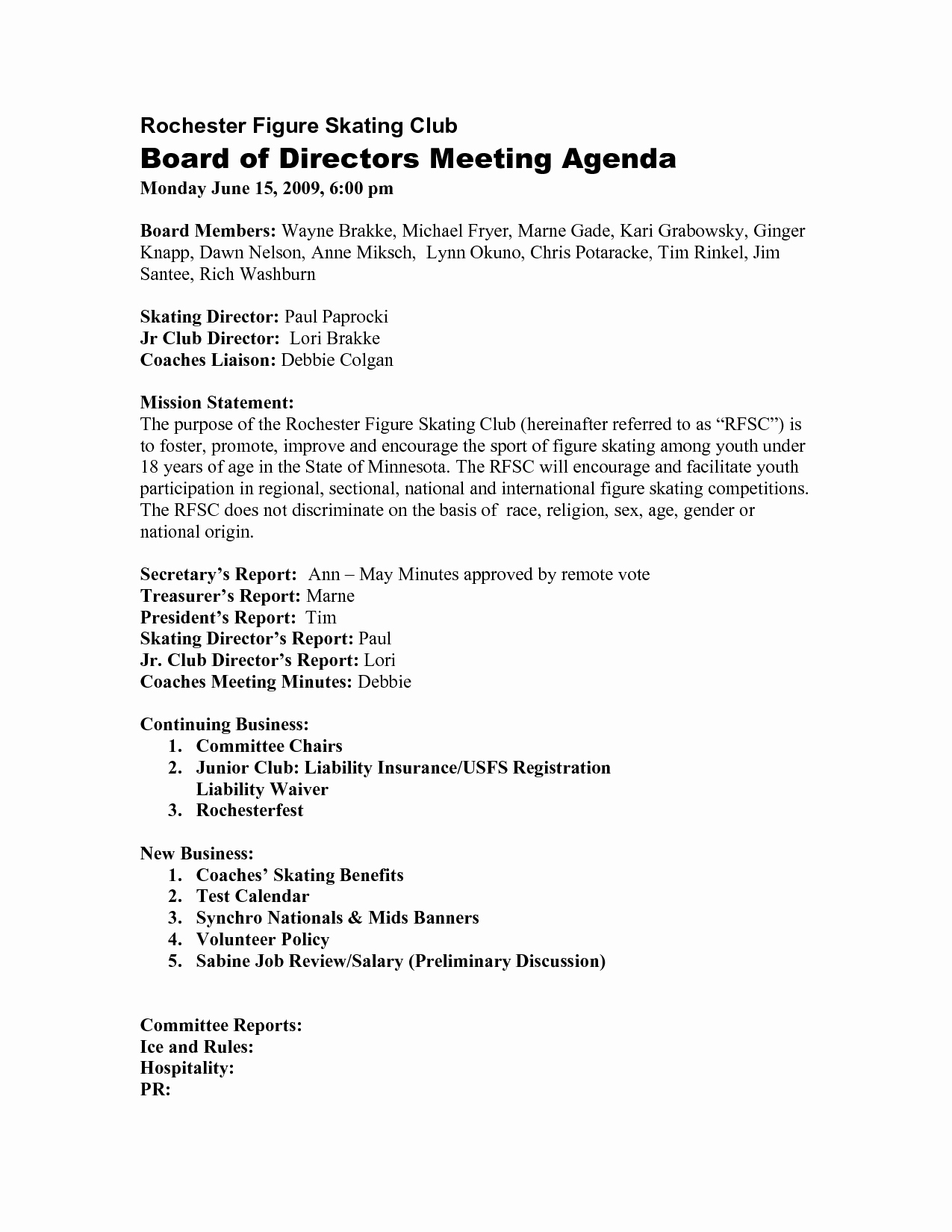 Board Of Directors Meeting Template New 10 Best Of Sample Board Directors Agenda Board