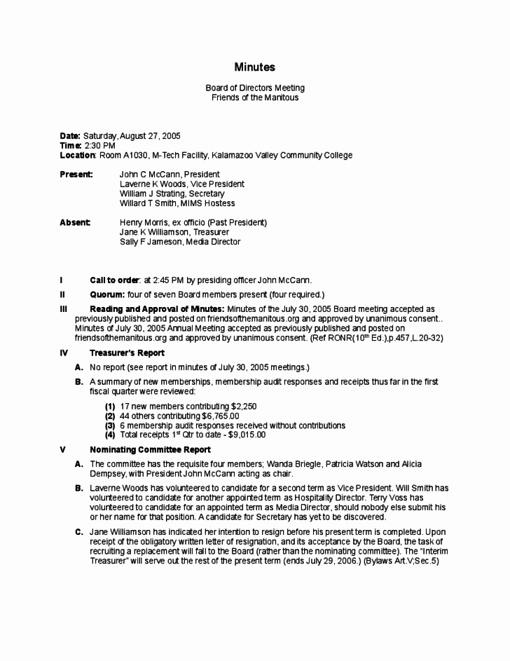 Board Of Directors Meeting Template New Board Directors Meeting Minutes Template