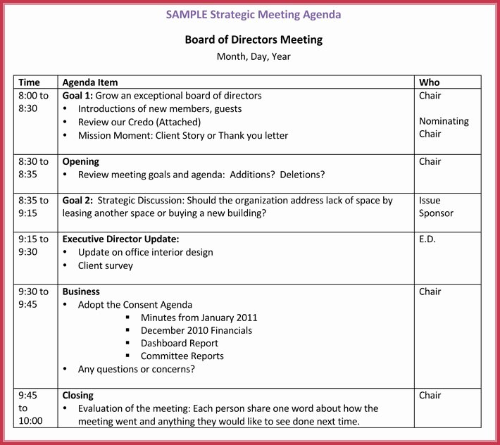 Board Of Directors Meeting Template New Board Meeting Agenda Template 10 Free Samples formats
