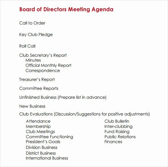 Board Of Directors Meeting Template New Sample Board Meeting Agenda Template 11 Free Documents