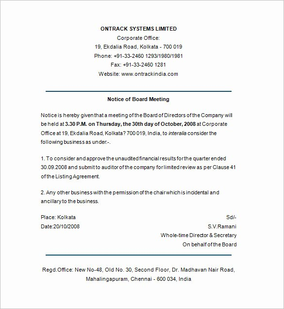 Board Of Directors Meeting Template Unique Board Directors Meeting Notice Template Templates