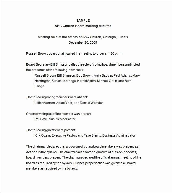 Board Of Directors Report Template Best Of Board Of Directors Meeting Minutes Template 12 Example