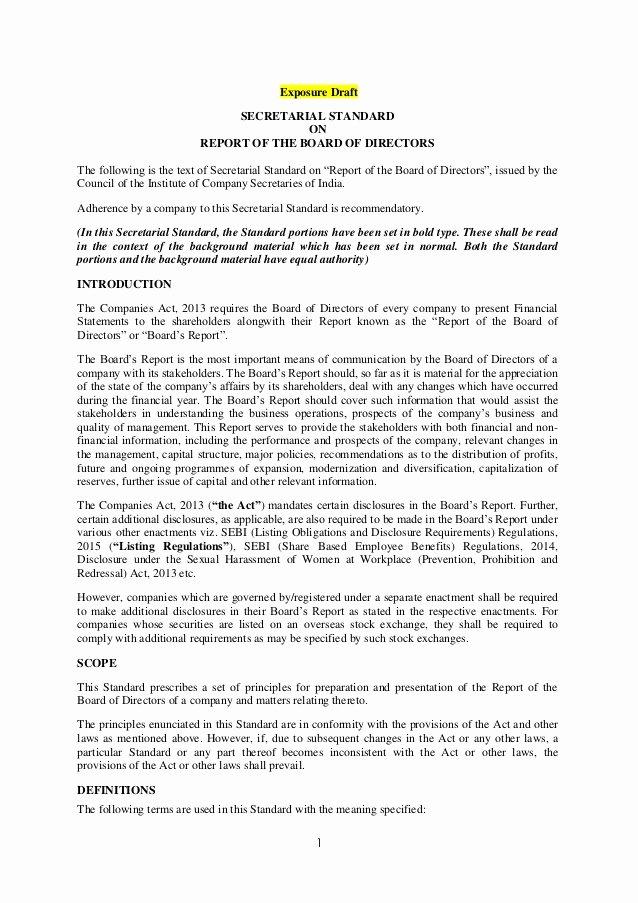Board Of Directors Report Template Elegant Exposure Draft Secretarial Standard On Report Of the Board