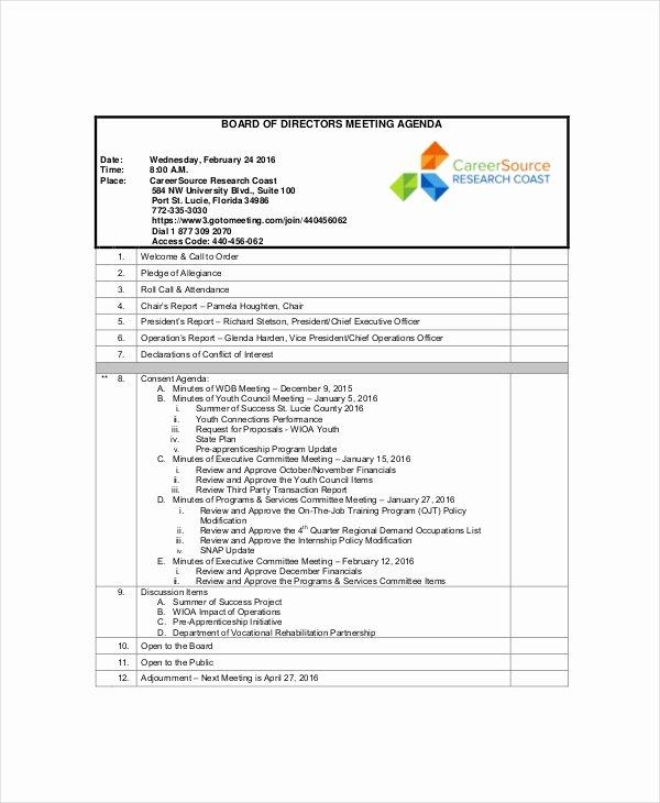sample board of directors meeting agenda