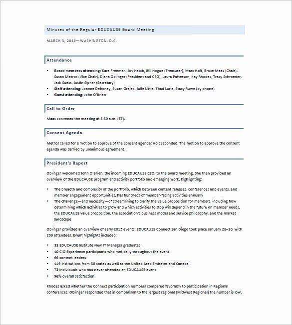 Board Of Directors Report Template Inspirational Board Of Directors Meeting Minutes Template 12 Example