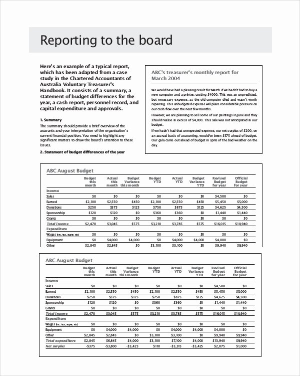 Board Of Directors Report Template Lovely 6 Sample Board Reports