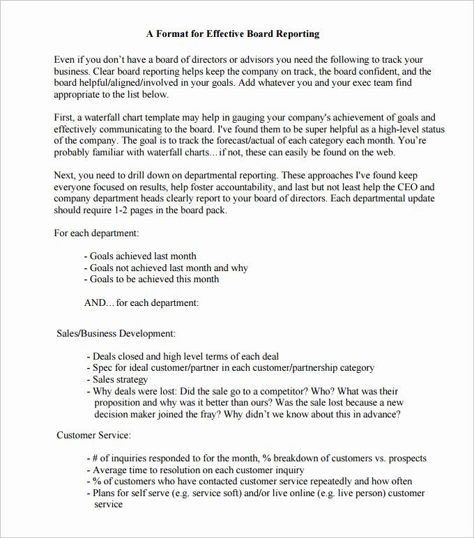 Board Of Directors Report Template New 22 Board Report Templates Pdf Doc