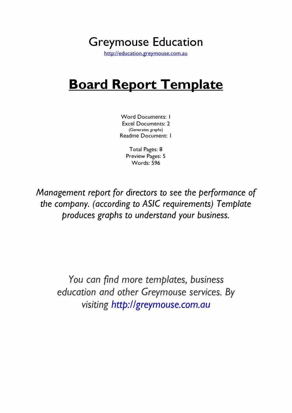 Board Of Directors Report Template New Board Report Template