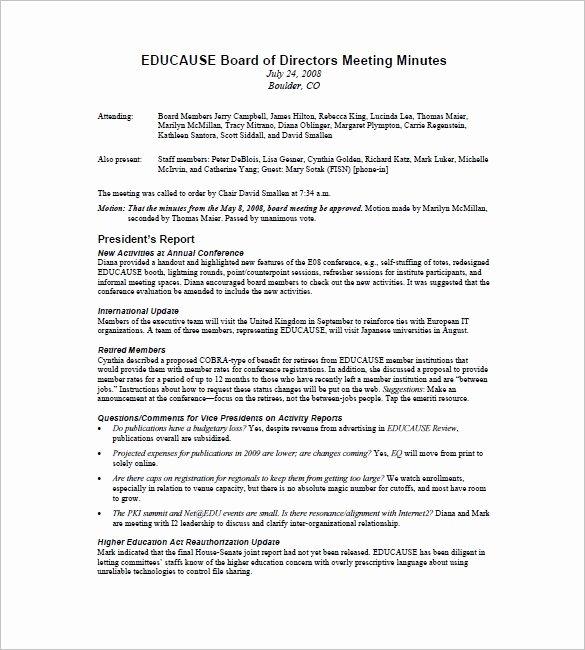Board Of Directors Report Template Unique Board Of Directors Meeting Minutes Template 12 Example