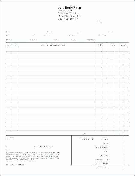 Body Shop Estimate Template Awesome Auto Body Repair Estimate Template – Amandae