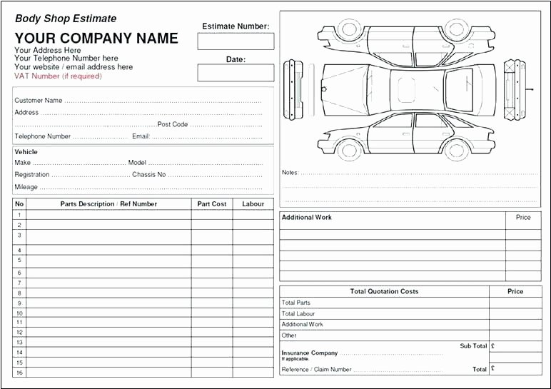 Body Shop Estimate Template Best Of Auto Body Estimate Sheet Template Shop – Btcromaniafo