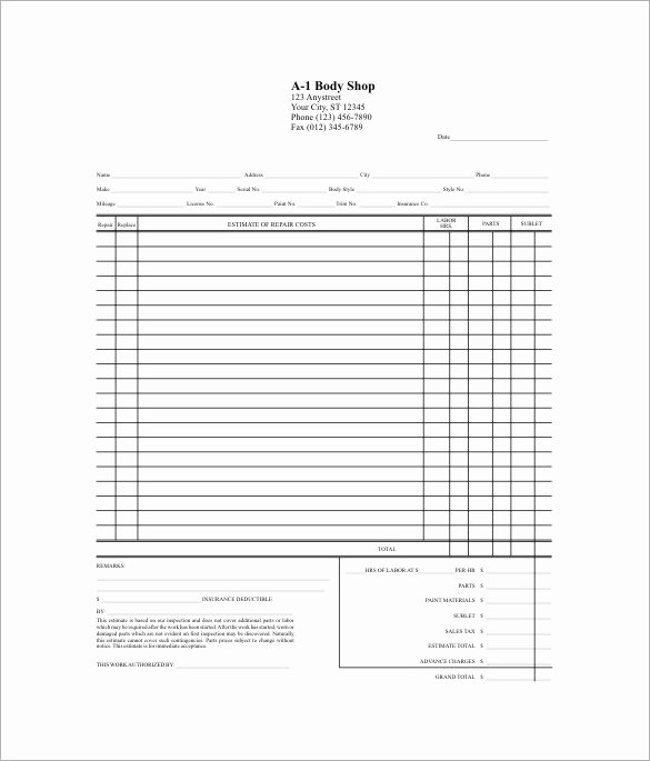 Body Shop Estimate Template Elegant 20 Repair Estimate Templates Word Excel Pdf