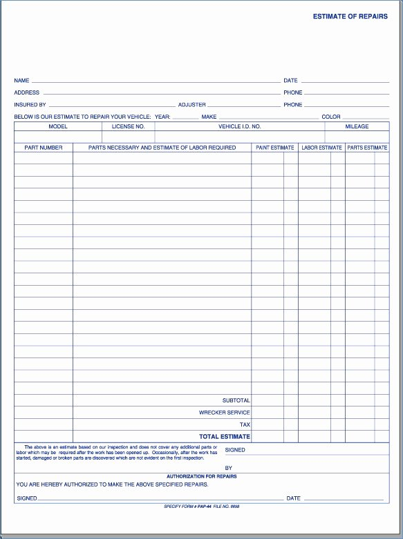 Body Shop Estimate Template Elegant Auto Body Shop Estimate forms Kenicandle fortzone Free