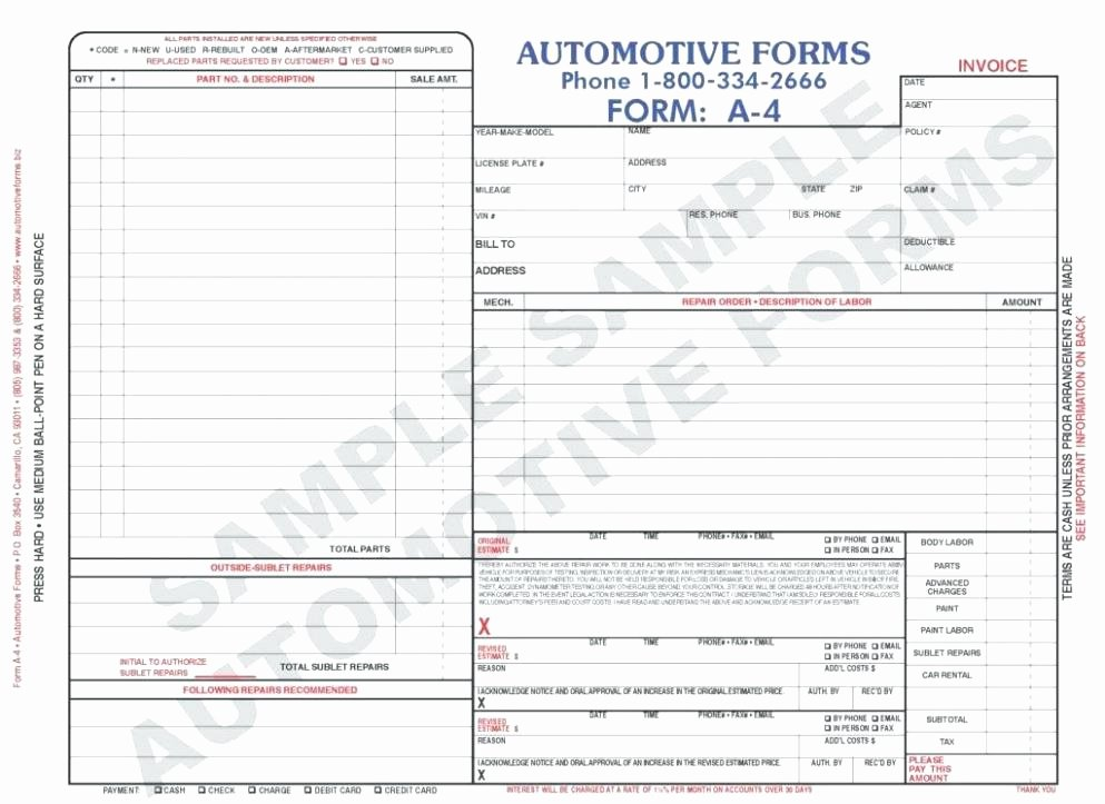 Body Shop Estimate Template New Body Shop Repair Estimate Template – Ddmoon