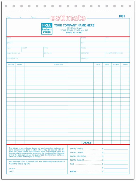 Body Shop Estimate Template Unique 660 A K A 660 2 660 3 Auto Repair Estimate form Carbonless