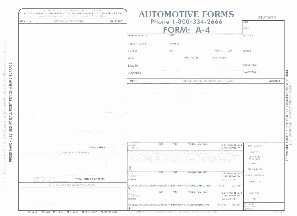 Body Shop Estimate Template Unique Automotive Repair Invoice Work order Estimates Image Auto