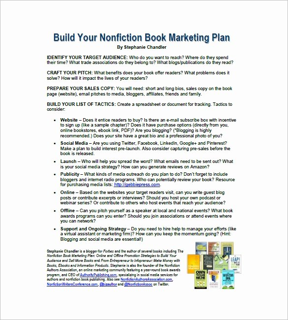 Book Marketing Plan Template New 7 Book Marketing Plan Template Free Sample Example