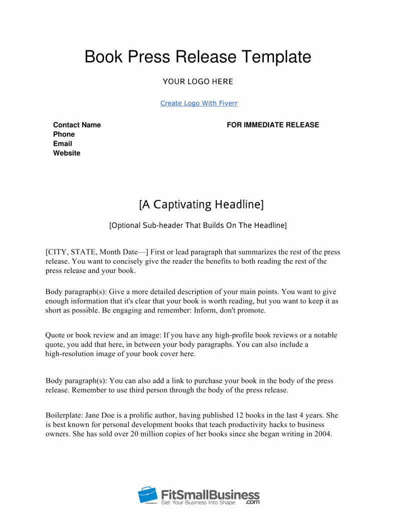 Book Press Release Template Awesome How to Write A Book Press Release In 9 Steps [ Free Template]