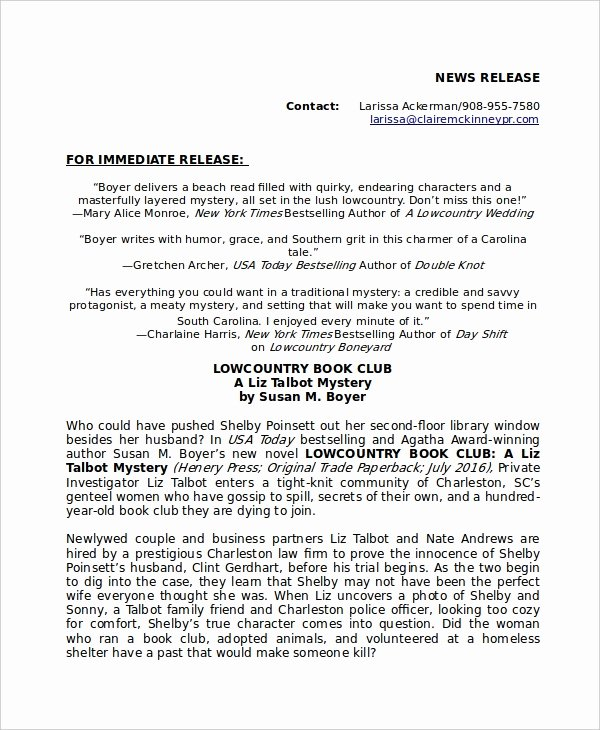 Book Press Release Template Awesome Press Release Template 20 Free Word Pdf Document