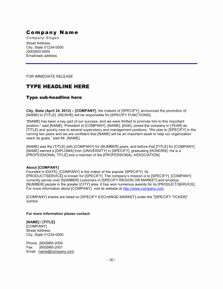 Book Press Release Template Inspirational Gallery New Employee Press Release Examples Life Love